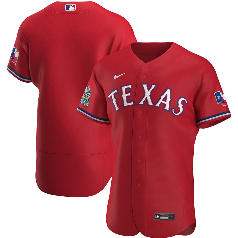 MLB Men Texas Rangers Nike Scarlet Alternate 2020 Authentic Team Jersey