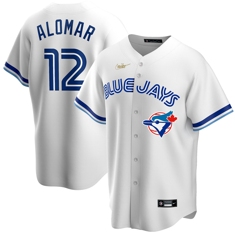 MLB Men Toronto Blue Jays 12 Roberto Alomar Nike White Home Cooperstown Collection Player Jersey