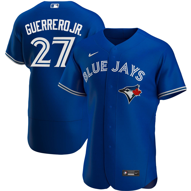 MLB Men Toronto Blue Jays 27 Vladimir Guerrero Jr. Nike Royal Alternate 2020 Authentic Player Jersey
