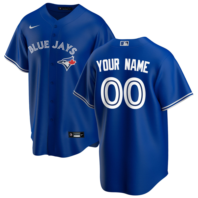 MLB Men Toronto Blue Jays Nike Royal Alternate 2020 Replica Custom Jersey