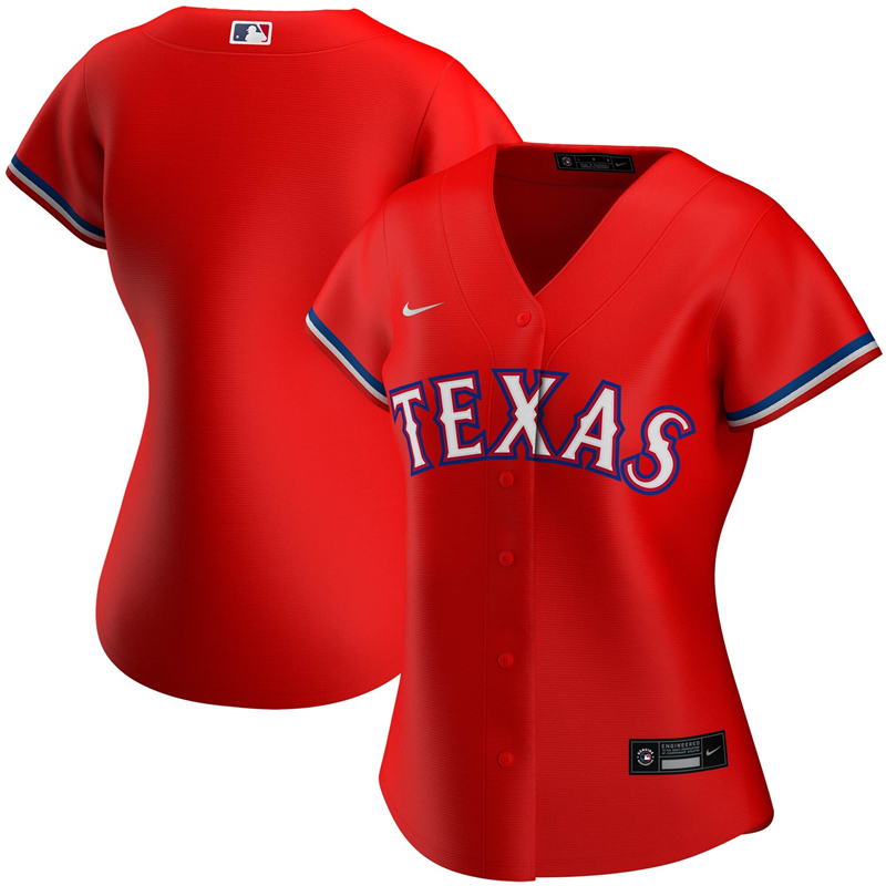 MLB Women Texas Rangers Nike Red Alternate 2020 Replica Team Jersey