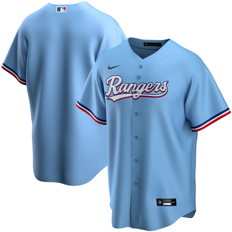 MLB Youth Texas Rangers Nike Light Blue Alternate 2020 Replica Team Jersey