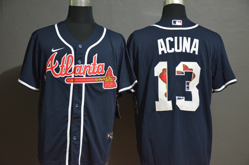 Men Atlanta Braves 13 Acuna blue Nike Game MLB Jerseys
