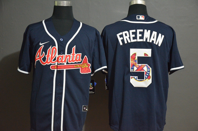 Men Atlanta Braves 5 Freeman blue Nike Game MLB Jerseys
