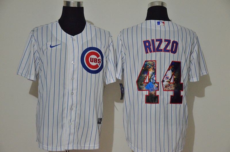 Men Chicago Cubs 44 Rizzo white Game Nike MLB Jerseys