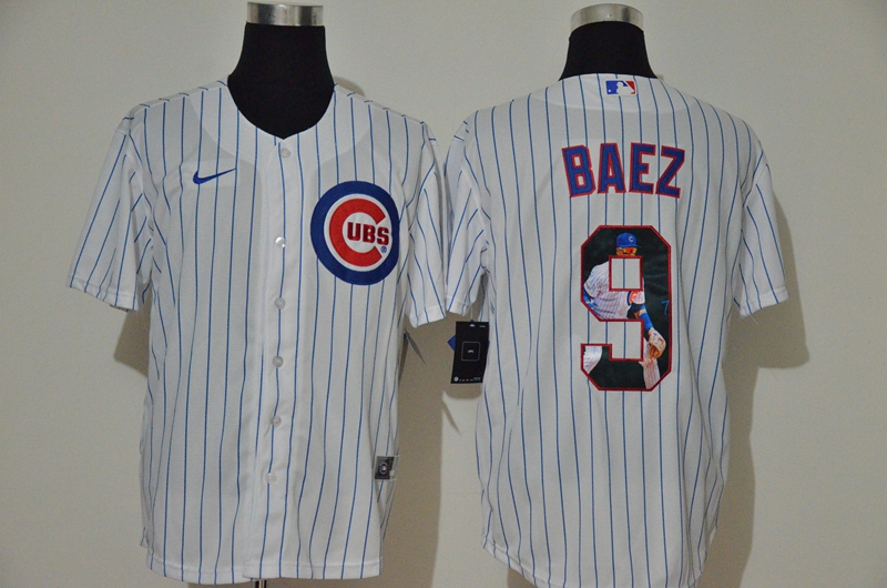 Men Chicago Cubs 9 baez white Game Nike MLB Jerseys