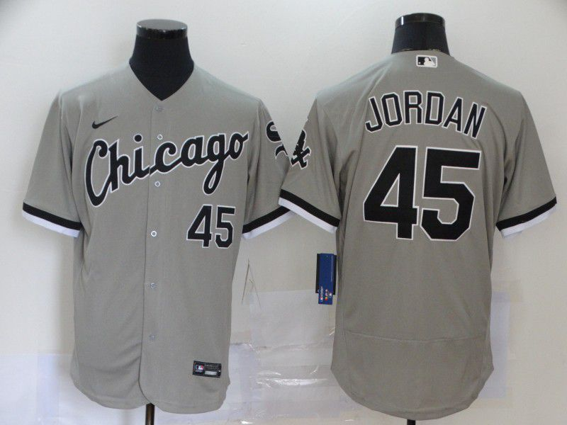 Men Chicago White Sox 45 Jordan Grey Elite Nike MLB Jerseys