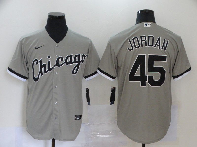 Men Chicago White Sox 45 Jordan Grey Game Nike MLB Jerseys