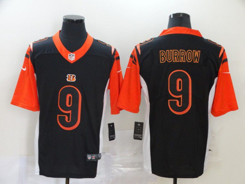 Men Cincinnati Bengals 9 Burrow Black Nike Vapor Untouchable Stitched Limited NFL Jerseys