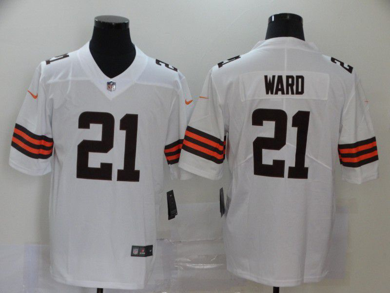 Men Cleveland Browns 21 Ward White Nike Vapor Untouchable Stitched Limited NFL Jerseys