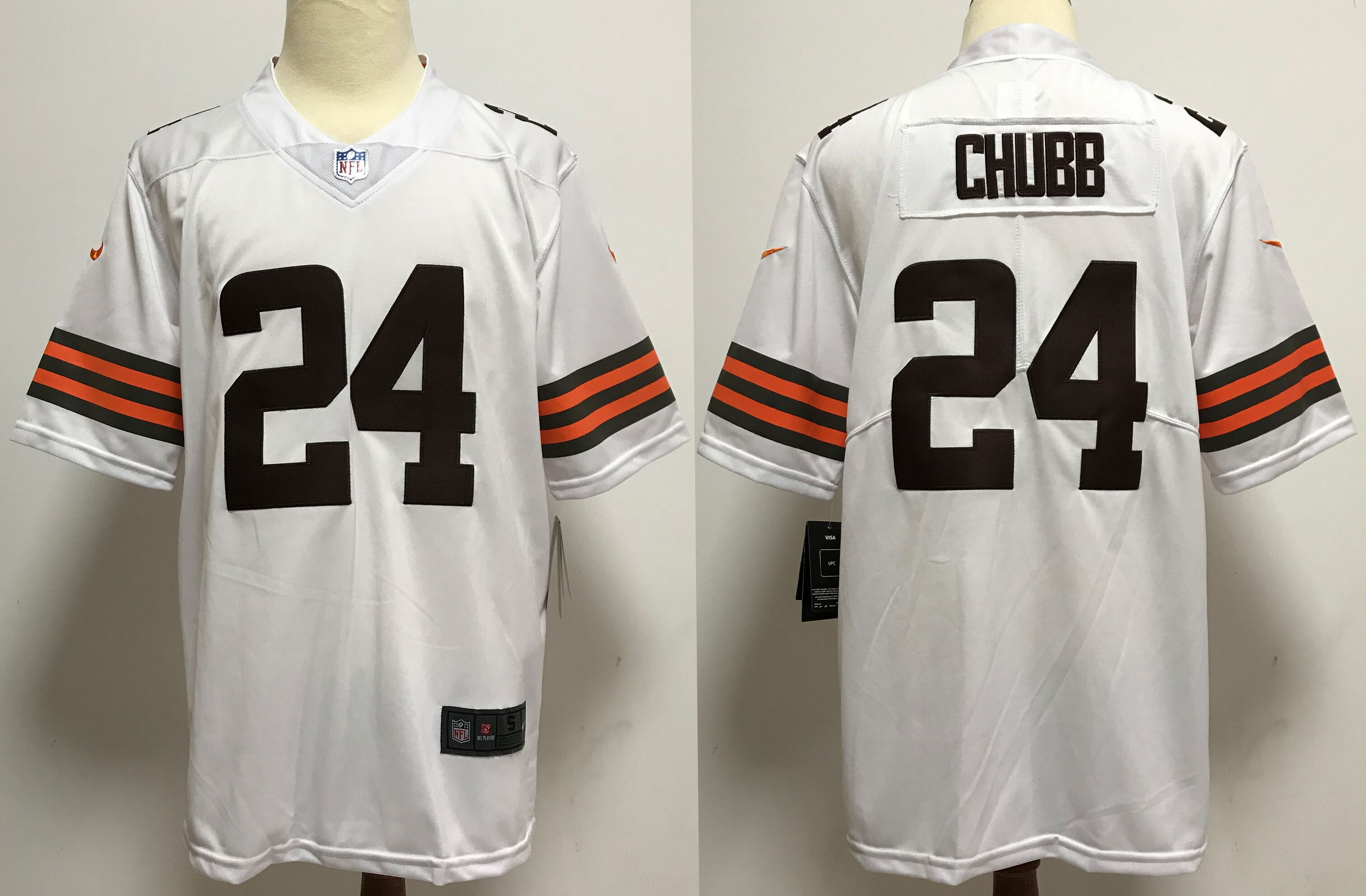 Men Cleveland Browns 24 Chubb White Nike Vapor Untouchable Stitched Limited NFL Jerseys