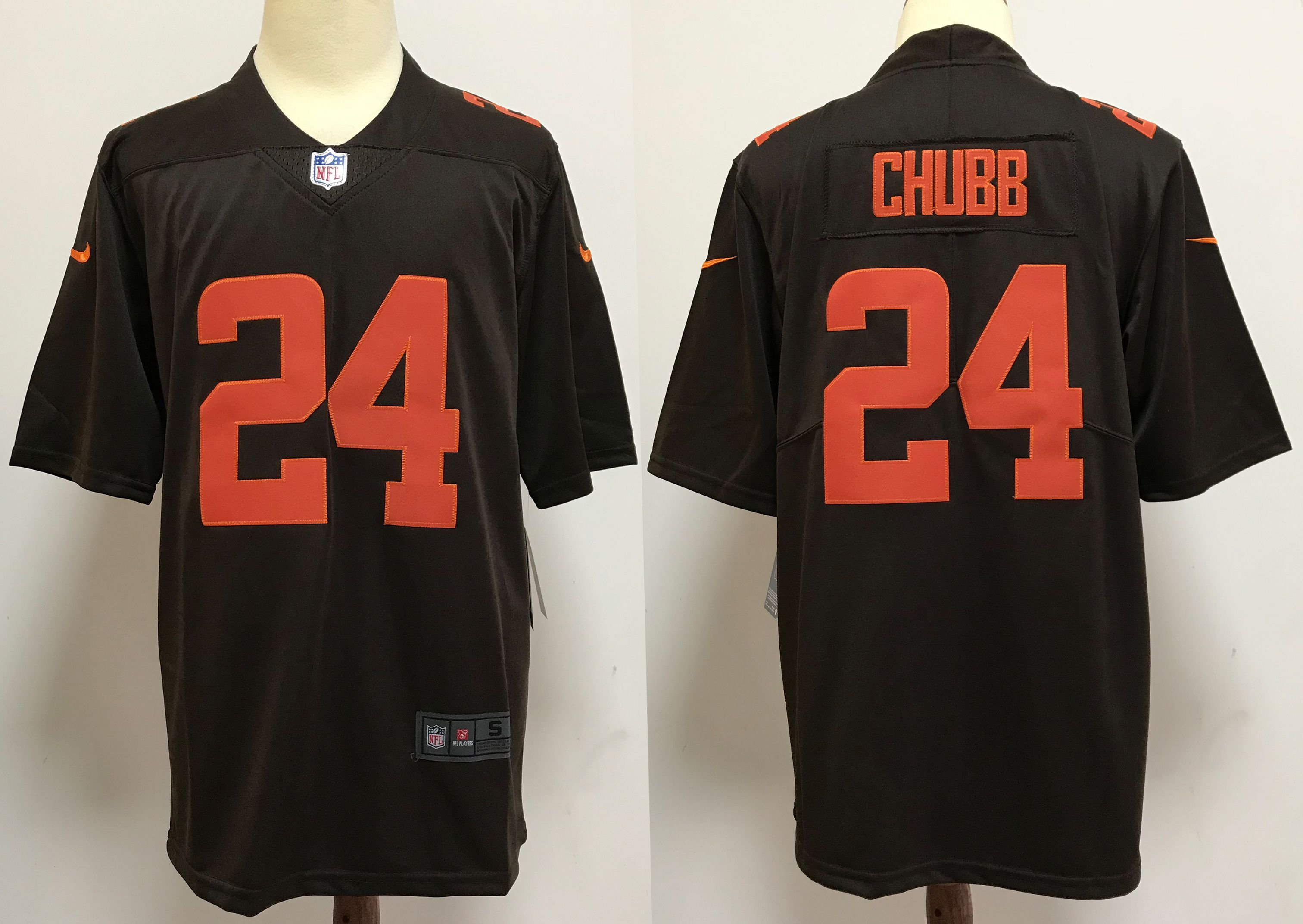 Men Cleveland Browns 24 Chubb brown orange Nike Vapor Untouchable Stitched Limited NFL Jerseys