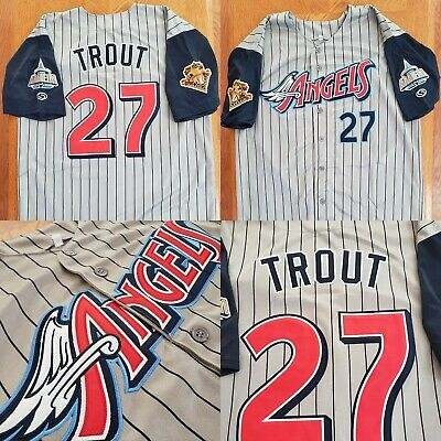 Men Custom MLB Los Angeles Angels 27 Trout white Jerseys