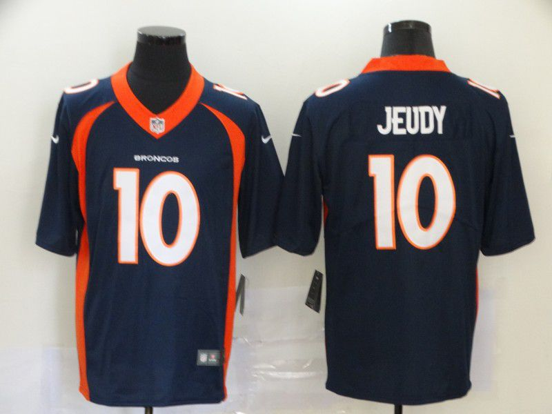 Men Denver Broncos 10 Jeudy Blue Nike Vapor Untouchable Stitched Limited NFL Jerseys