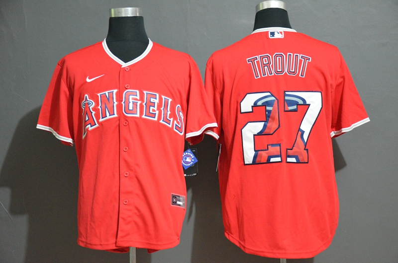 Men Los Angeles Angels 27 Trout Red Nike game MLB Jerseys