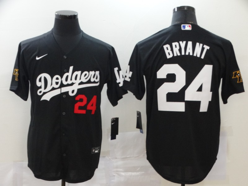 Men Los Angeles Dodgers 24 Bryant Black Nike Game MLB Jerseys