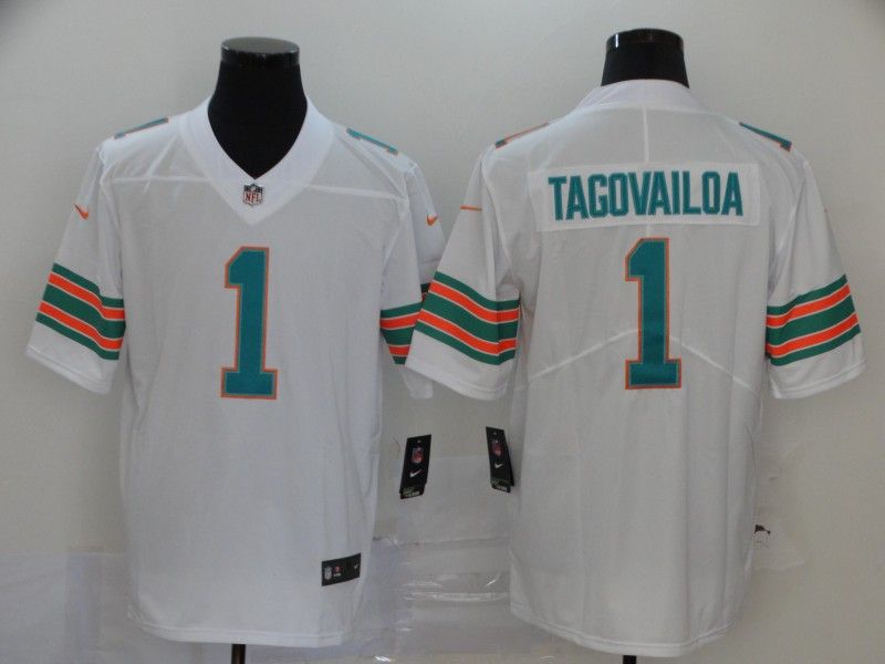 Men Miami Dolphins 1 Tagovailoa White Nike Vapor Untouchable Limited NFL Jerseys