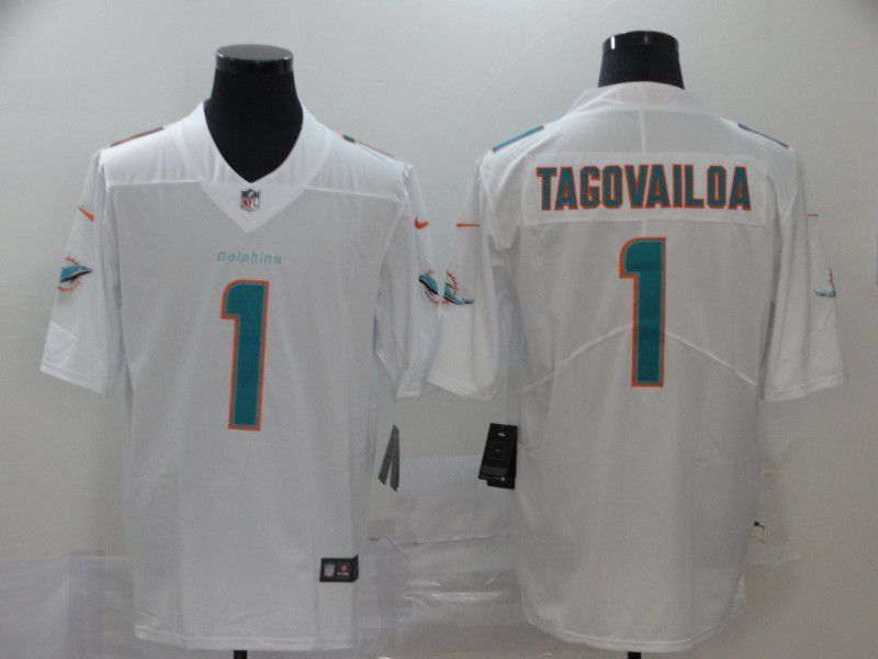Men Miami Dolphins 1 Tagovailoa White Nike Vapor Untouchable Stitched Limited NFL Jerseys