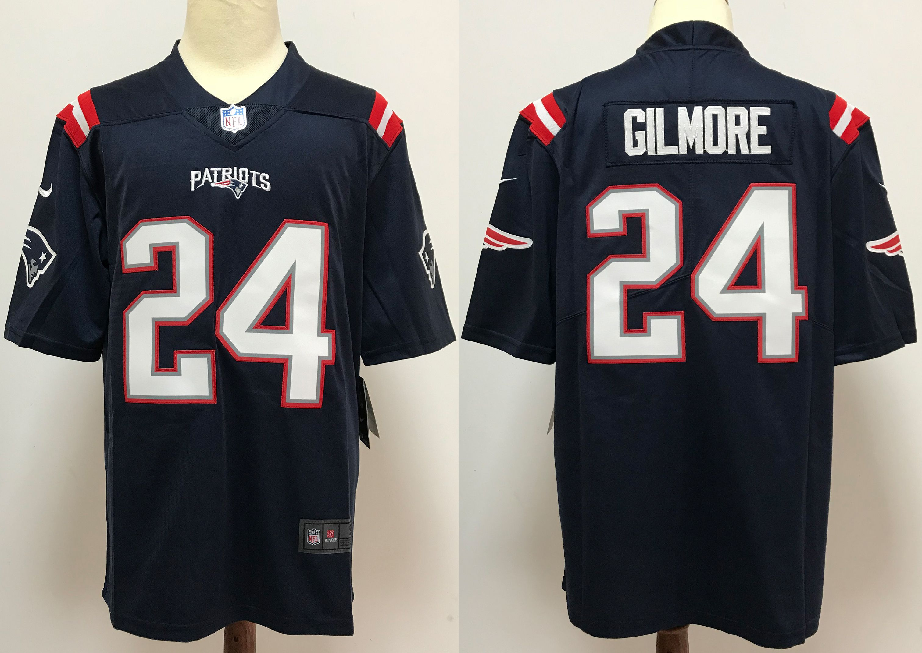 Men New England Patriots 24 Gilmore Blue Nike Vapor Untouchable Stitched Limited NFL Jerseys