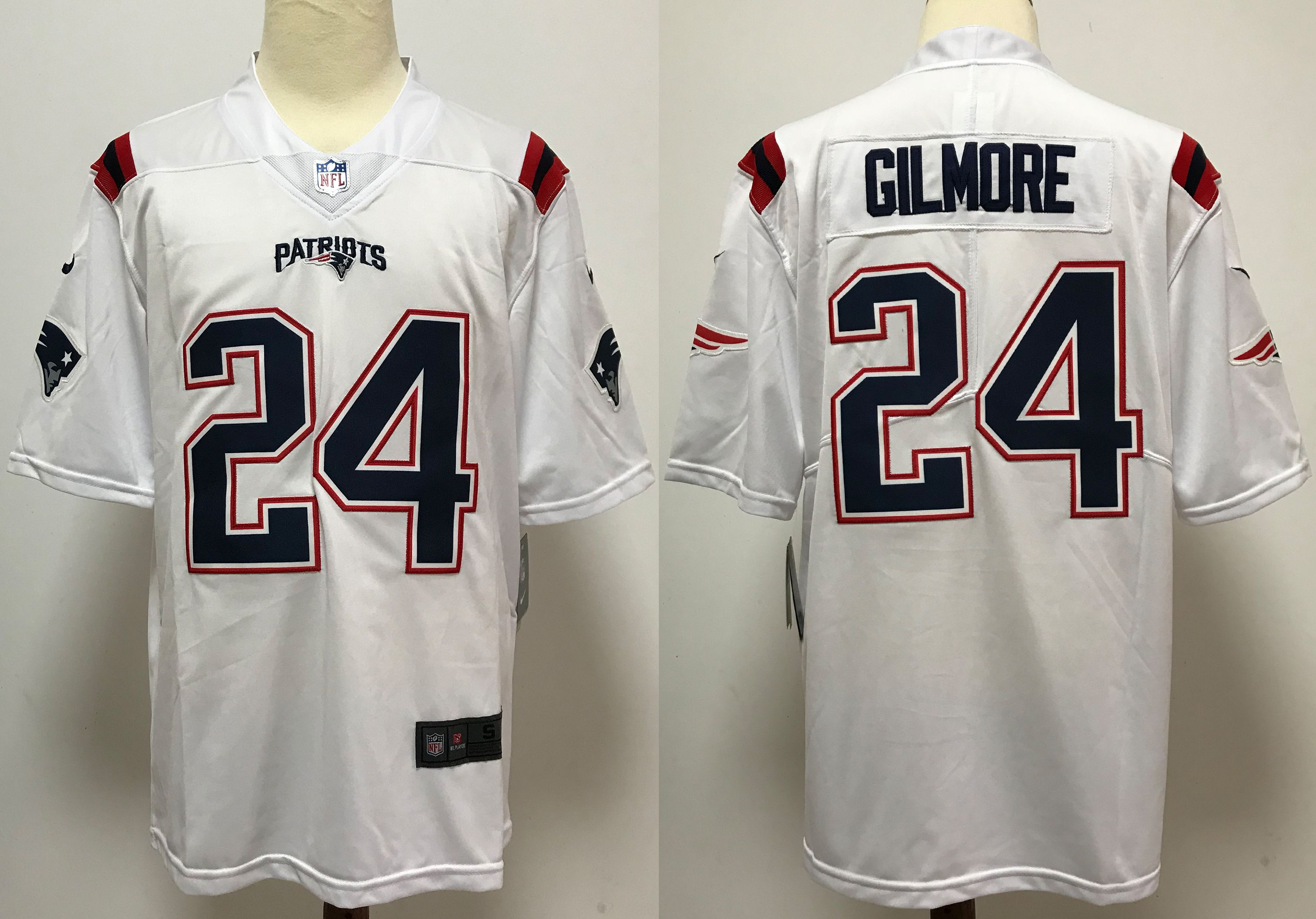 Men New England Patriots 24 Gilmore White Nike Vapor Untouchable Stitched Limited NFL Jerseys