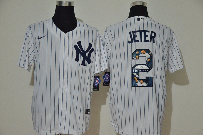 Men New York Yankees 2 Jeter White Nike MLB Jerseys