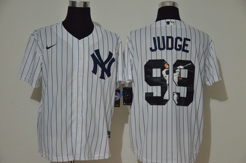Men New York Yankees 99 Judge White Nike MLB Jerseys