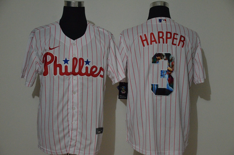 Men Philadelphia Phillies 3 Harper White Nike MLB Jerseys