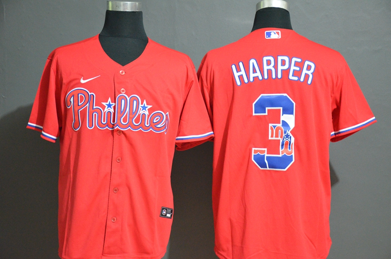 Men Philadelphia Phillies 3 Harper red Nike MLB Jerseys