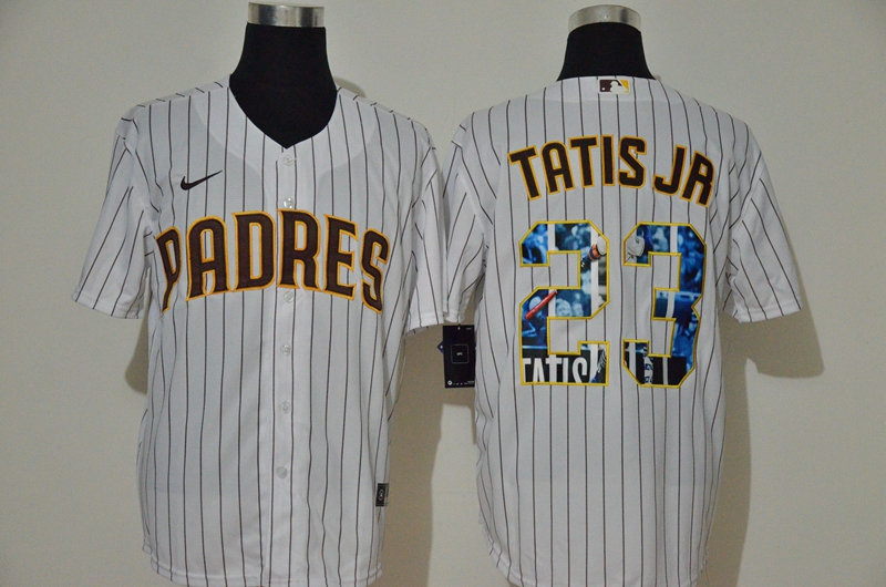 Men San Diego Padres 23 Tatis Jr white Nike Gme MLB Jerseys