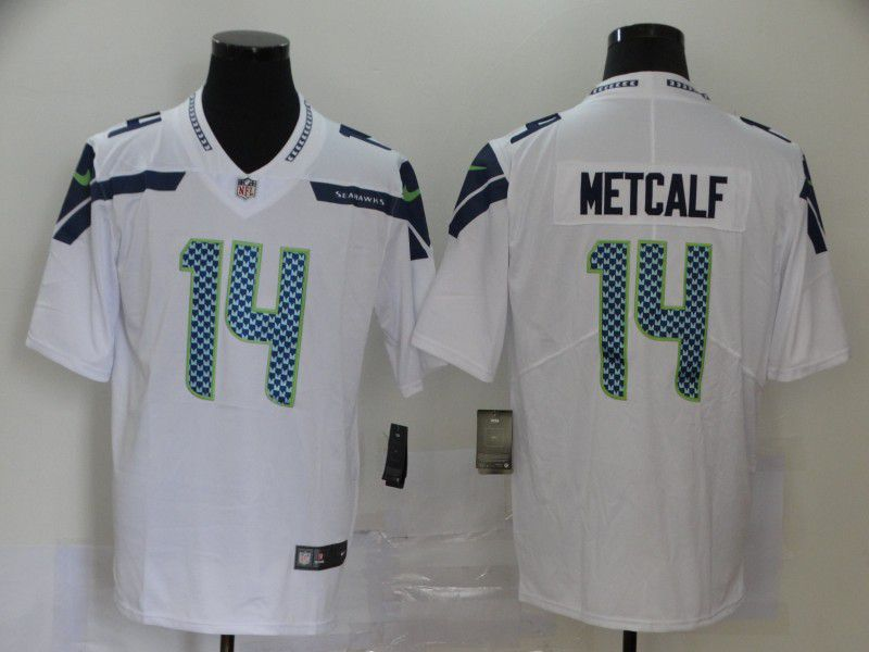 Men Seattle Seahawks 14 Metcalf White Nike Vapor Untouchable Stitched Limited NFL Jerseys