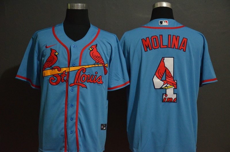 Men St.Louis Cardinals 4 Molina Blue Nike Game MLB Jerseys