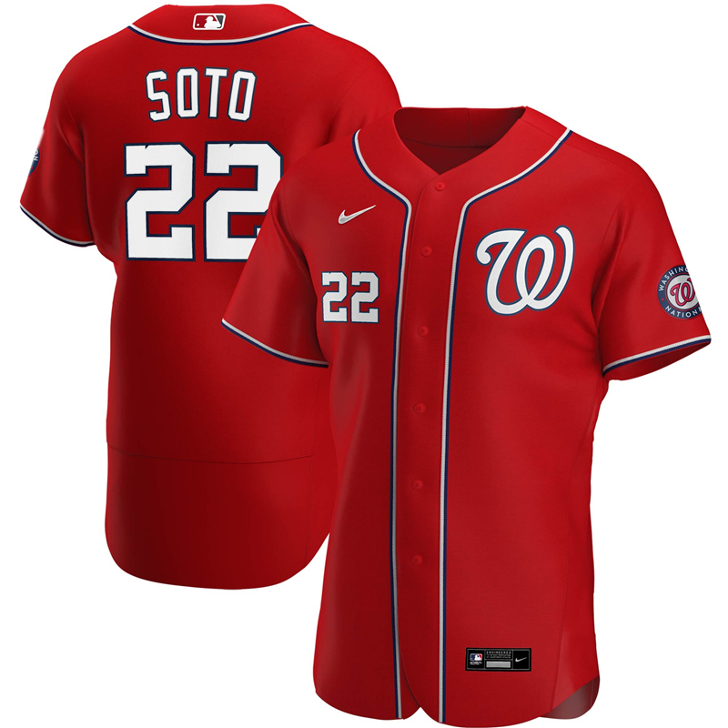 Men Washington Nationals 22 Juan Soto Nike Red Alternate 2020 Authentic Player Jersey