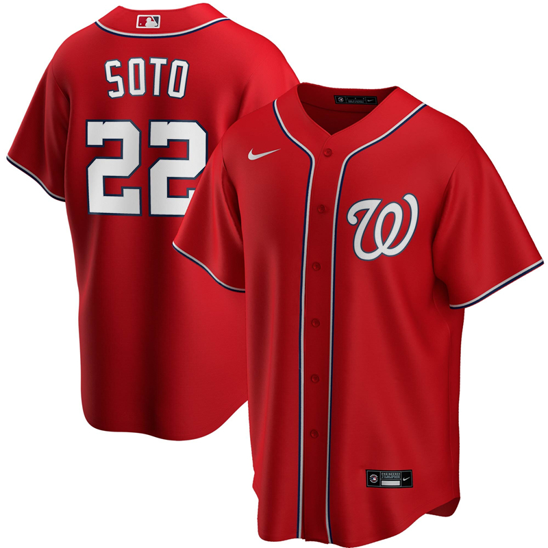 Men Washington Nationals 22 Juan Soto Nike Red Alternate 2020 Replica Player Jersey