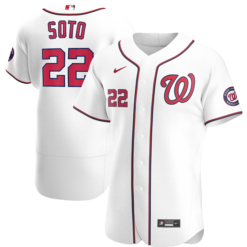 Men Washington Nationals 22 Juan Soto Nike White Home 2020 Authentic Player Jersey