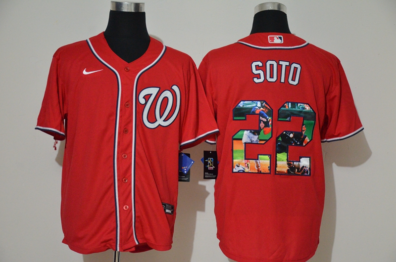 Men Washington Nationals 22 Soto red Game MLB Jerseys
