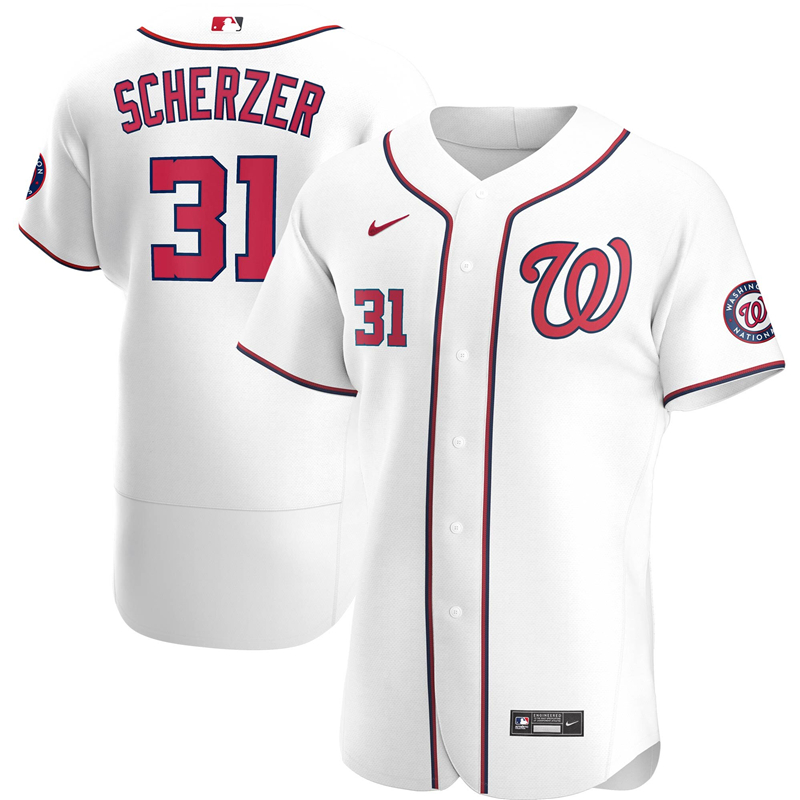Men Washington Nationals 3 Max Scherzer Nike White Home 2020 Authentic Player Jersey
