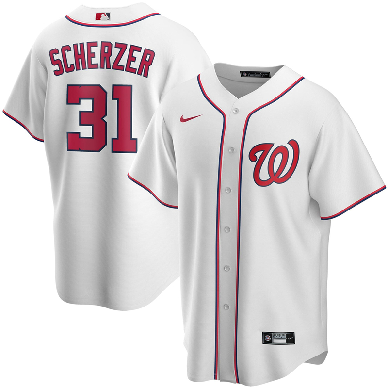 Men Washington Nationals 3 Max Scherzer Nike White Home 2020 Replica Player Jersey