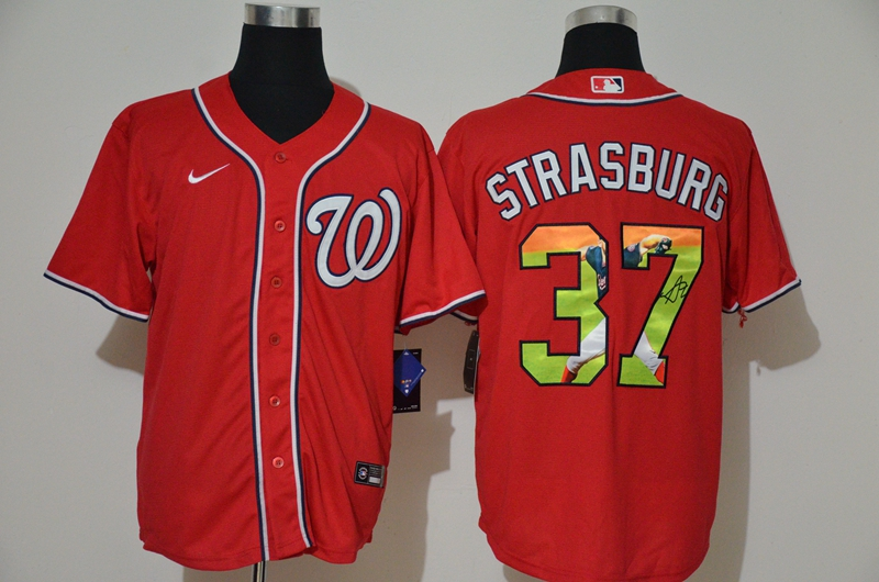 Men Washington Nationals 37 Strasburg red Game MLB Jerseys