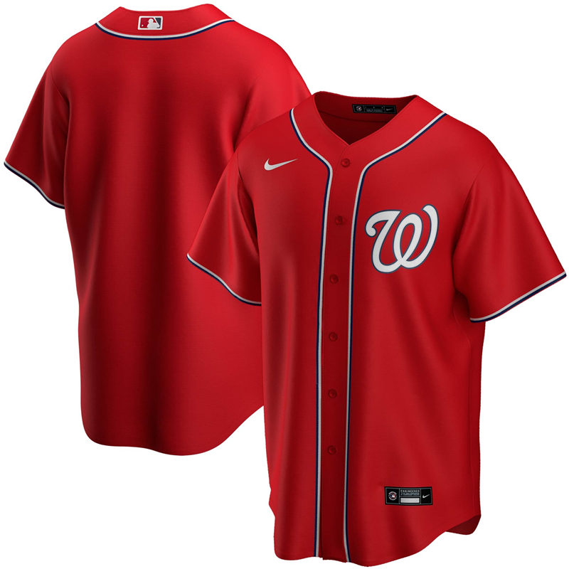 Men Washington Nationals Nike Red Alternate 2020 Replica Team Jersey