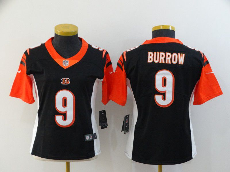 Women Cincinnati Bengals 9 Burrow Black Nike Vapor Untouchable Stitched Limited NFL Jerseys