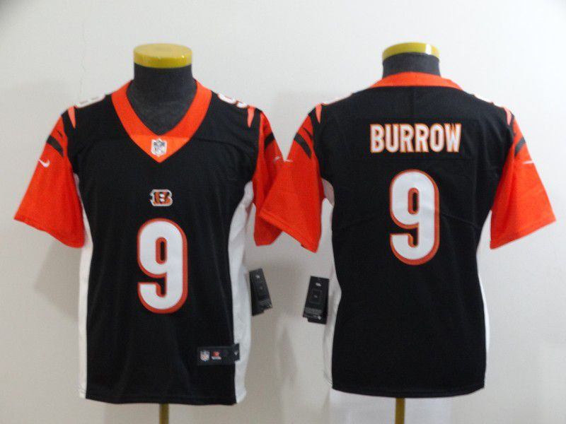 Youth Cincinnati Bengals 9 Burrow Black Nike Vapor Untouchable Stitched Limited NFL Jerseys