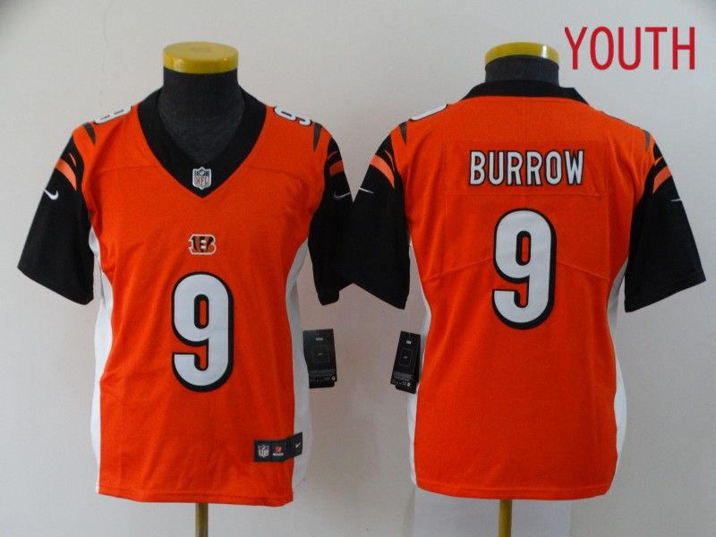 Youth Cincinnati Bengals 9 Burrow Orange Nike Vapor Untouchable Stitched Limited NFL Jerseys