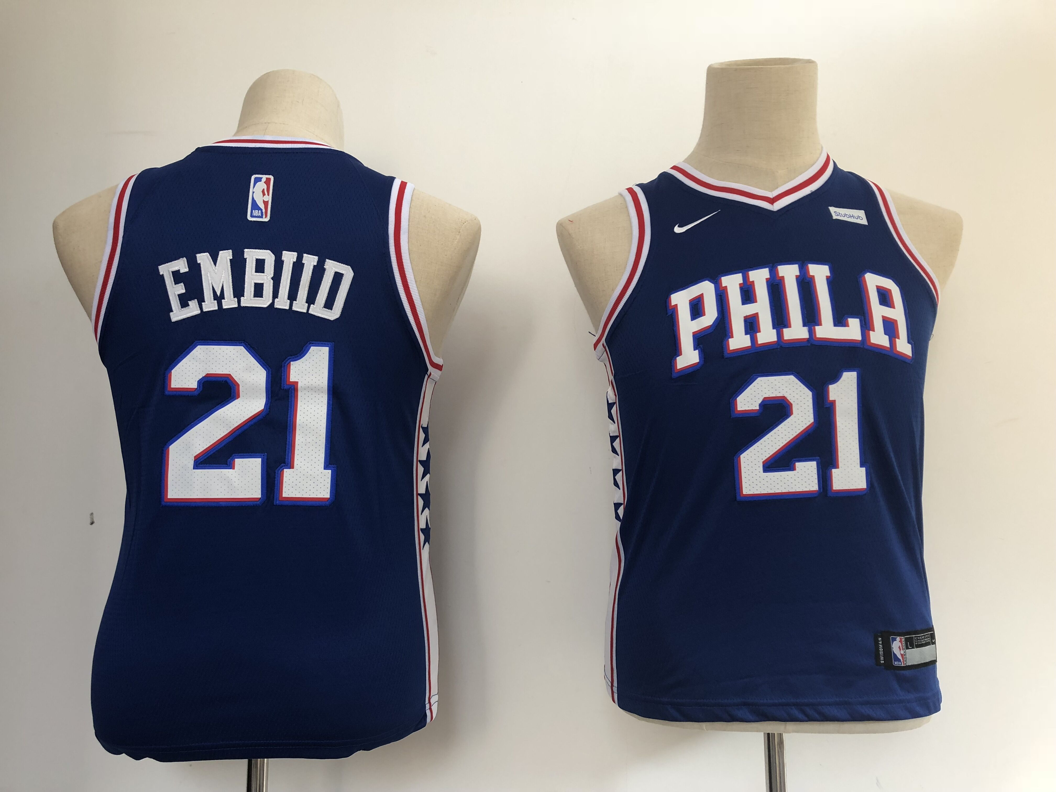 Youth Philadelphia 76ers 21 Embiid blue Nike NBA Jerseys