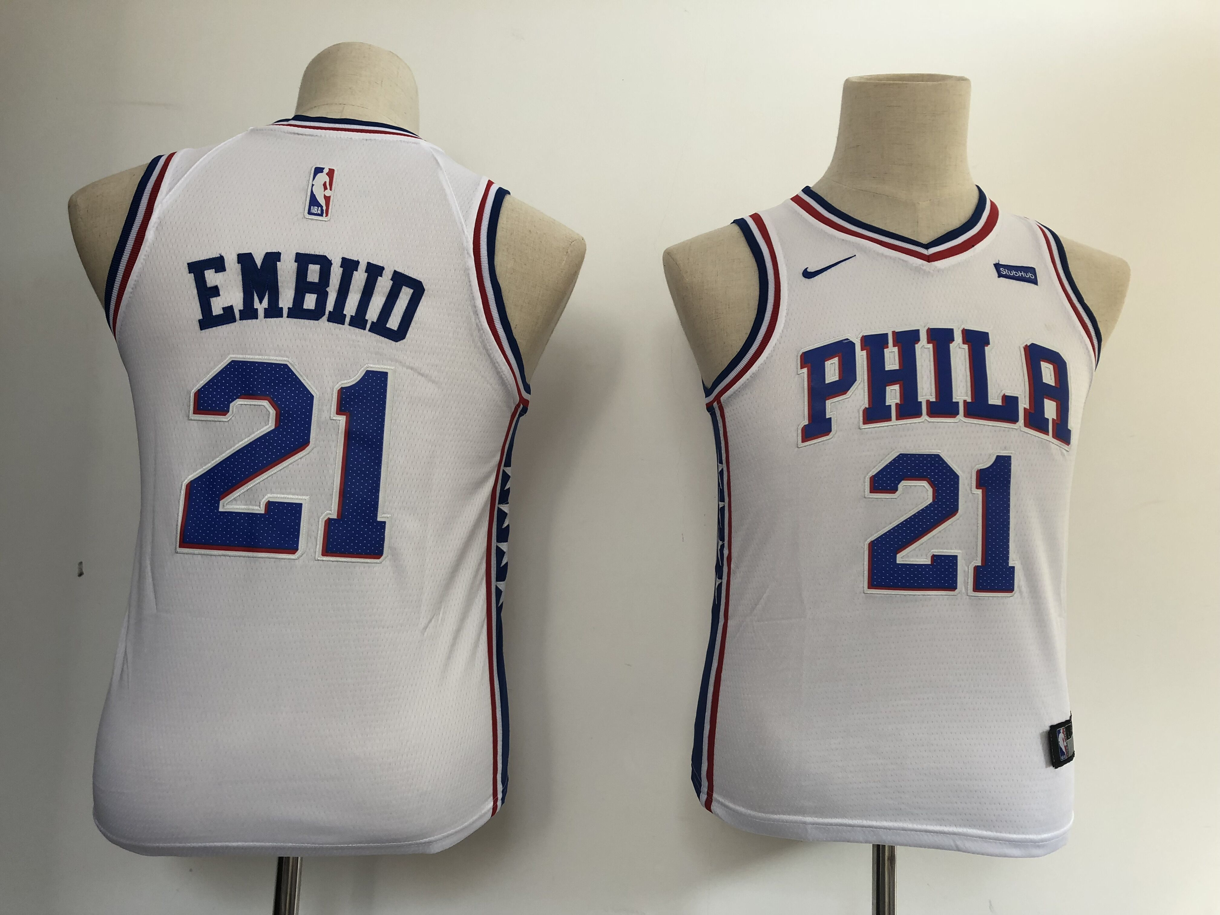 Youth Philadelphia 76ers 21 Embiid white Nike NBA Jerseys