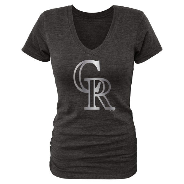 2020 MLB Colorado Rockies Fanatics Apparel Women Platinum Collection VNeck TriBlend TShirt Black