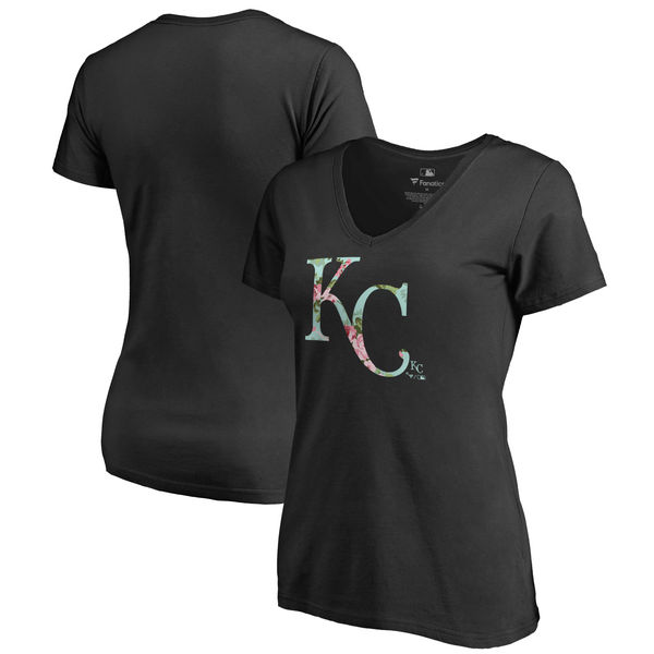 2020 MLB Kansas City Royals Fanatics Branded Women Lovely VNeck TShirt Black