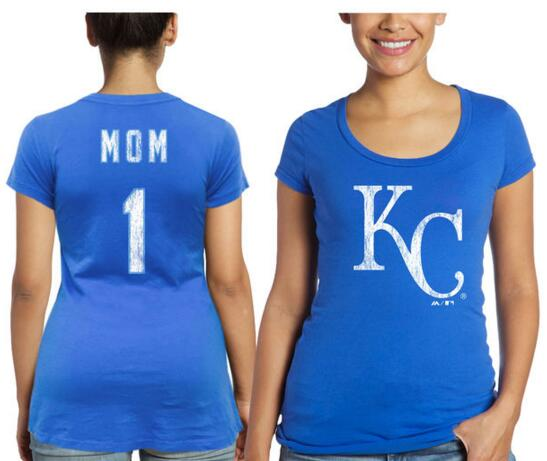 2020 MLB Kansas City Royals Majestic Threads Women Mother Day 1 Mom TShirt Royal Blue.