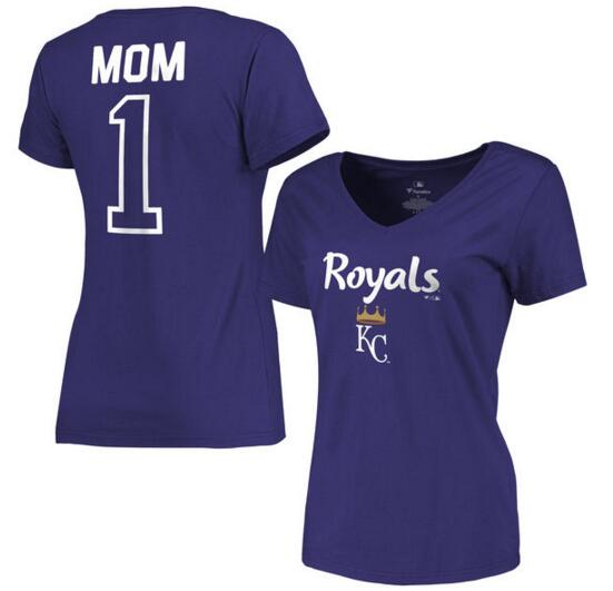 2020 MLB Kansas City Royals Women 2017 Mother Day 1 Mom VNeck TShirt Royal