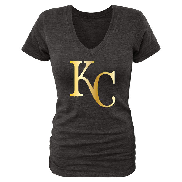 2020 MLB Kansas City Royals Women Gold Collection TriBlend VNeck TShirt Black