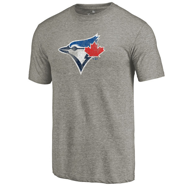 2020 MLB Men Toronto Blue Jays Distressed Team TriBlend TShirt Ash